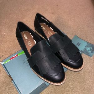 Mallory Black Leather Toms Flats